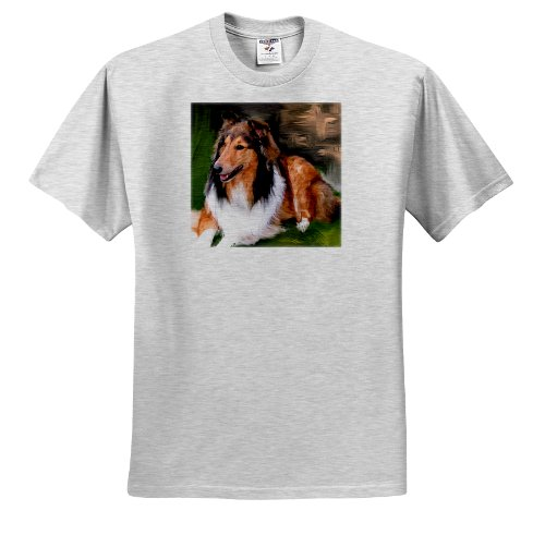 (3dRose Dogs Rough Collie - Rough Collie - T-Shirts - Adult Birch-Gray-T-Shirt XL (ts_4155_21))