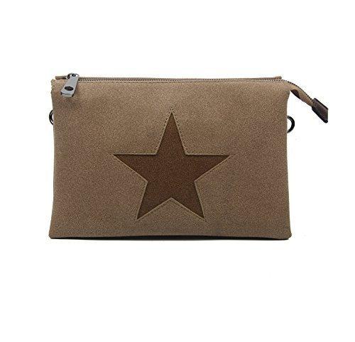 Estrella Bolsa De La Lona Bolsa Bandolera De Dama Bolsa De Joyas Embrague Bolsa De Tela Cuero Estrella - caqui con estrella 3x compartimentos caqui con estrella 3x compartimentos