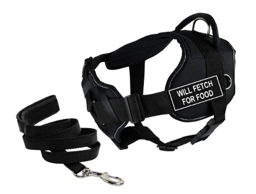 Dean & Tyler's DT Fun Chest Support ''WILL FETCH FOR FOOD'' Harness with Reflective Trim, Medium, and 6 ft Padded Puppy Leash. by Dean & Tyler