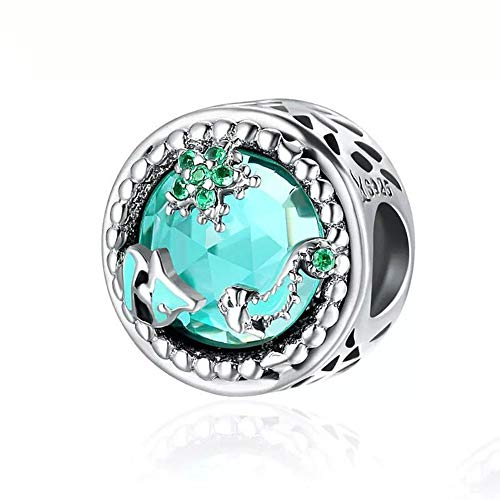 - ABAOLA Blue Mermaid Tail & Shell Pearl Charm 925 Sterling Silver Ocean Charm Beads for Bracelet & Necklace (Ocean Underwater World)