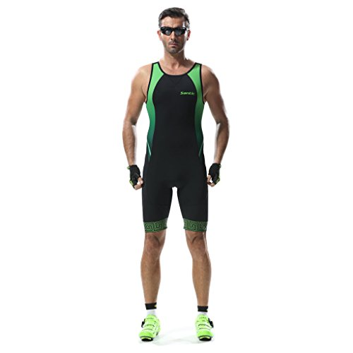 Triathlon Tri Suit Sleeveless - SANTIC Men's Skinsuit Swim Bike Run Ironman - Mens 2 Suit Piece Tri