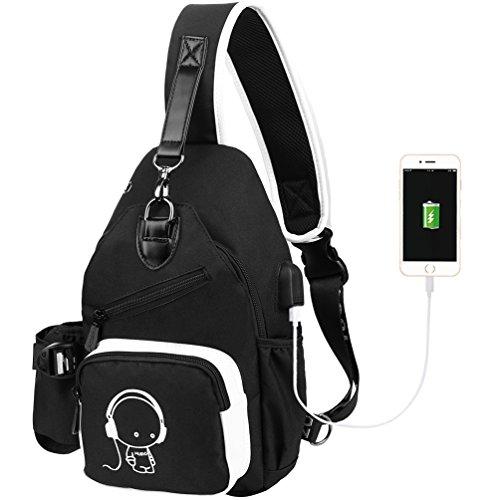 los reflexivo de USB con Cable Negro Hombres del Pecho del Mensajero Bolso Bolso de del el Vbiger del Carga qTxfzw8nP5