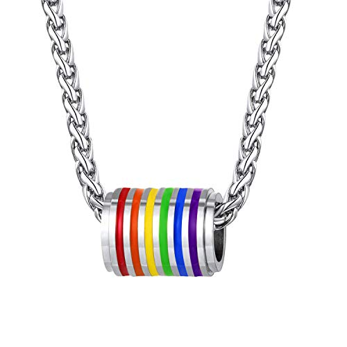 Bandmax Rainbow LGBT Gay Pride Cylindrical Pendant Necklace Gift Stainless Steel Inspiration Friendship Necklace Jewelry for Men/Women with 22Inches Chain(Steel) -