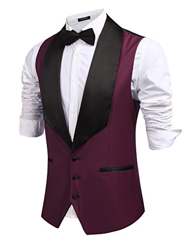 Coofandy Mens V-Neck Slim Fit Dress Suits Sleeveless