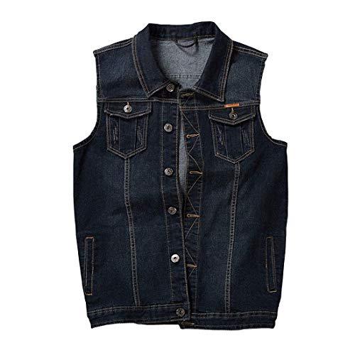 (Men's Casual Button Up Denim Vest Vintage Sleeveless Jeans Vest Jacket Dark)