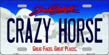 Crazy Horse South Dakota Background Novelty Metal License Plate LP-9964 Crazy Horse Dakota