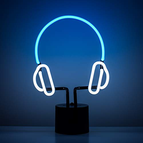 Amped & Co Headphones Neon Desk Light, Real Neon, Blue and White, Large 13x9 inches, Home Decor Neon Signs for Unique Rooms