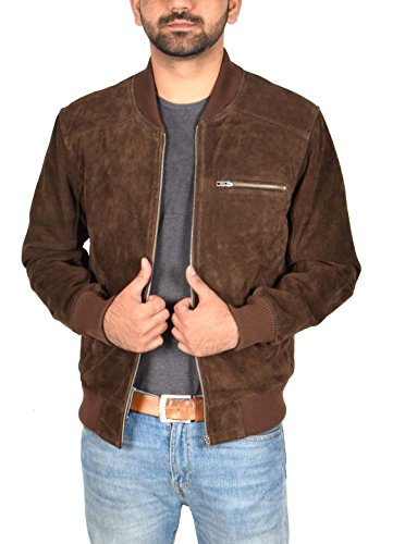 Mens Classic Fit Baseball Genuine Soft Suede Leather Bomber Jacket Reg Brown ()