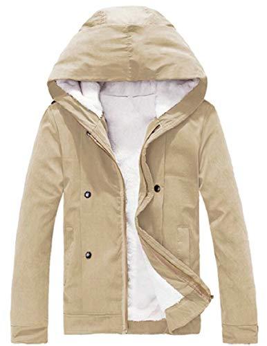 Fleece Thick Men's Hooded security Warm Zipper Down Khaki Coat Winter Jacket FIYIqxwUd