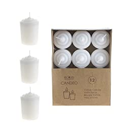 Mega Candles - Unscented 15 Hours Votive Candles - White, Set of 12