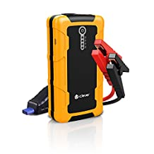 iClever 600A Peak 15000mAh Portable Car Jump Starter Quick Charge In & Out Battery Booster Phone Power Bank with Multiaple Protected Smart Clamp, LED Light, Yellow