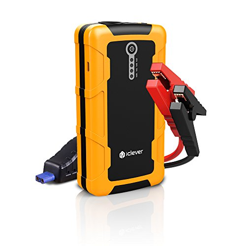 [Quick Charge In & Out] iClever 600amp Peak 15000mAh Portable Car Jump Starter BoostEngine External Power Bank with Multiple Protected Smart Clamp, 100 Lumen LED Light, Yellow
