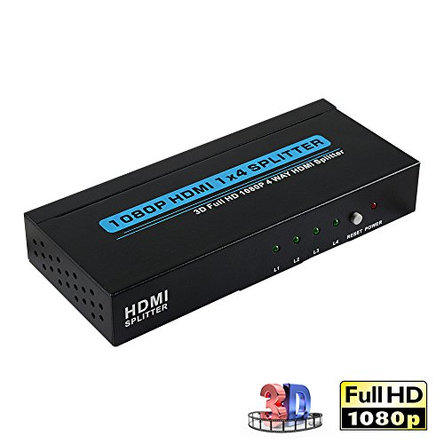 HDMI Splitter 1x4, Bluesky One In Four Out Powered HDMI Splitter Audio Video Distributor with Charger, Support Full HD 3D& 1080P (1 3x4)