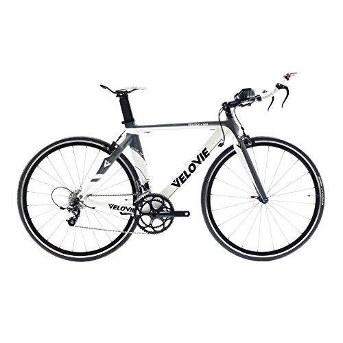 VeloVie Veloce 100 Carbon SRAM Apex Triathlon/TT Bicycle with FSA Omega Wheels, 51cm,  Grey/White