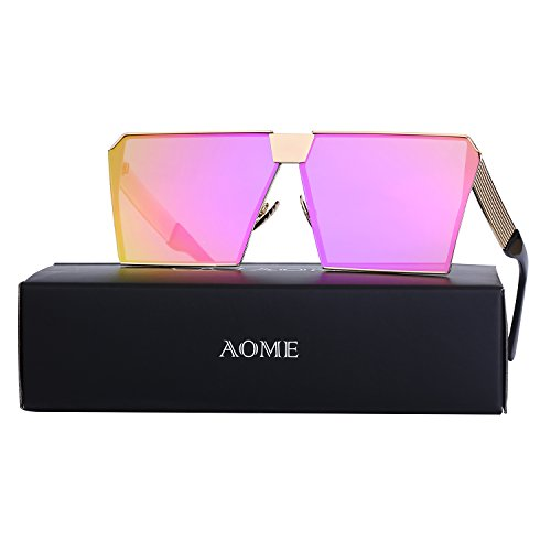 AOME Oversized Flat Top Sunglasses Square Metal Frame Mirrored Sunglasses (Gold&Pink, - Sunglasses Row The Round