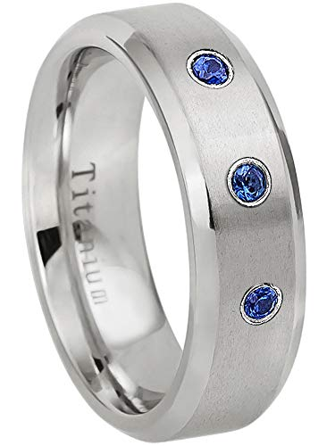 0.21ctw Blue Sapphire 3-Stone Titanium Ring - September Birthstone Ring - 7MM Matte Finish Beveled Edge Comfort Fit Titanium Wedding Band - 9