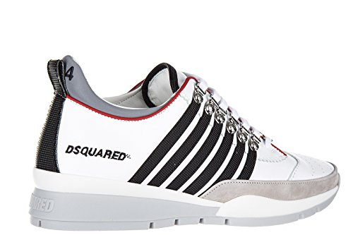 Dsquared2 chaussures baskets sneakers homme en cuir 251 blanc