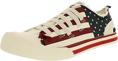 Canvas Usa Dog Fabric White Fashion High Women's Off Ankle Sneaker Rocket Joint xqU6awx4