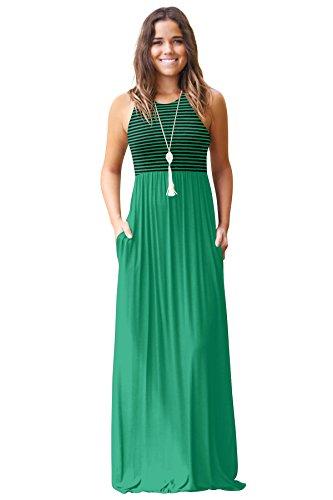 JYUAN Womens Summer Sleeveless Crew Neck Casual Striped Maxi Dress Tank Long Maxi Dress with Pockets by JYUAN