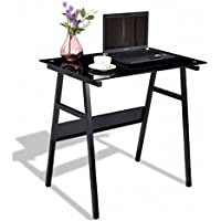 Small Laptop Desk For Bedroom PC Computer Table - Home Office Workstation Glass Top Bundle w Floor Protector Pads (Black)