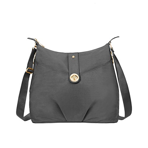 Baggallini HelsinkiTravel Crossbody Bag Gold Hardware, Charcoal by Baggallini