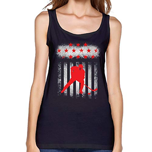 COSJIg8 Womens Hockey American Flag Sexy Comfy T-Shirt Summer Blank Tank Top by COSJIg8