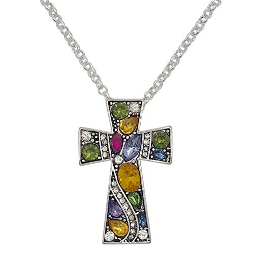 Gypsy Jewels Simple Christian Cross Rhinestone Bling Silver Tone Necklace (Bright Multi Color)