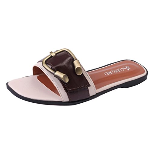 Winwintom verano de mujer Peep-dedo del pie zapatos bajos zapatos romanos de señora sandalias Blanco