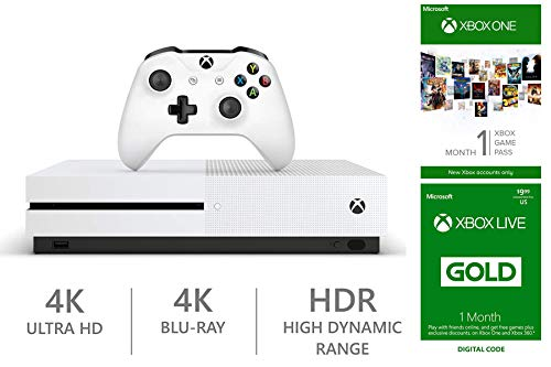 Microsoft Xbox One S 1TB HDR 4K Entertainment Console with Ultra HD Blu-ray Player Customize Your Gaming Bundle, Wireless Controller, Must Play Games and More