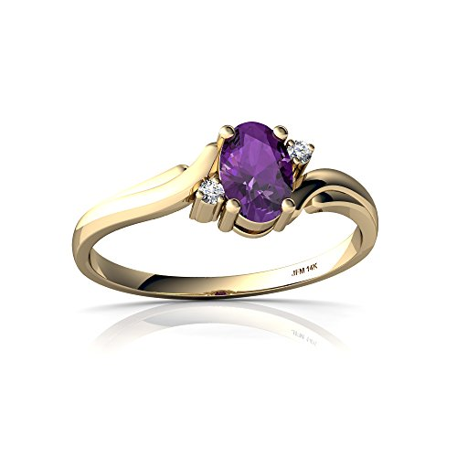 14kt Yellow Gold Amethyst and Diamond 6x4mm Oval Swirls Ring - Size 7.5 ()