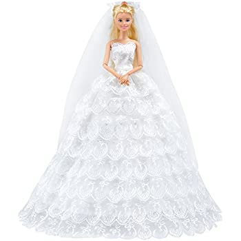 Amazon e ting white gorgeous long wedding dress princess gown e ting white gorgeous long wedding dress princess gown clothes with veil for barbie dolls junglespirit Gallery