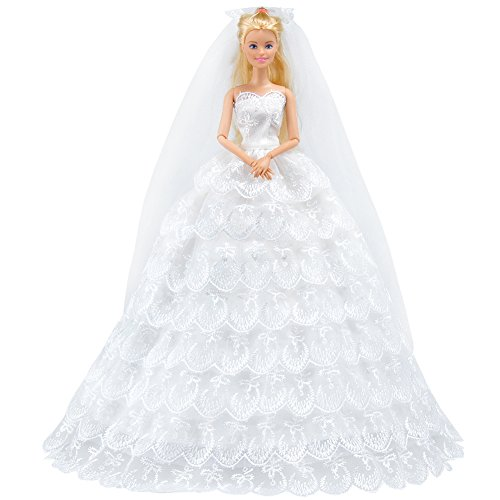 Bride Doll Clothes (E-TING White Gorgeous Long Wedding Dress Princess Gown Clothes with Veil for Barbie Dolls Gift)