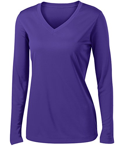 (Ladies Long Sleeve Moisture Wicking Athletic Shirts Sizes XS-4XL PURPLE-L)