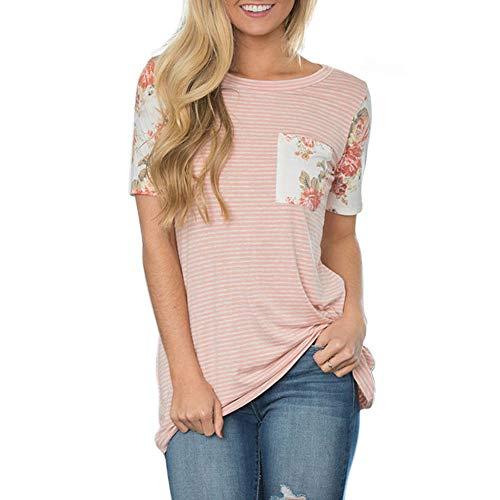 MUMUSEN Women's Classic Striped Short-Sleeved Printed Round Neck Pocket T-Shirt top (XL, Pink) -