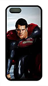 iPhone 5 5s Case, Slim Thin Shockproof Man Of Steel Superman Henry Cavill Ideas IP5 Case fit for iPhone 5 5s Ultra Protective Back Rubber Cover Impact Protection for iPhone 5 5s (Black)