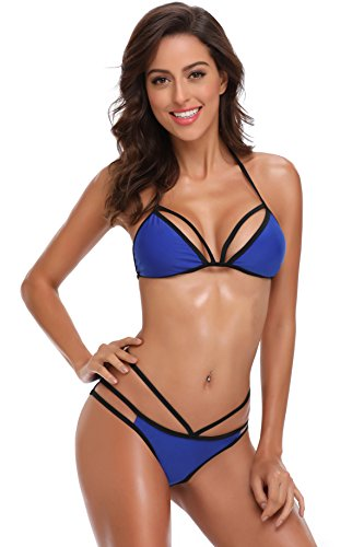SHEKINI Womens Bathing Suits Cutout Strappy Padded Lace Up Triangle Bandage Bikini Set Two Piece Swimsuits for Women (Medium/(US 8-10), Malibu Blue)