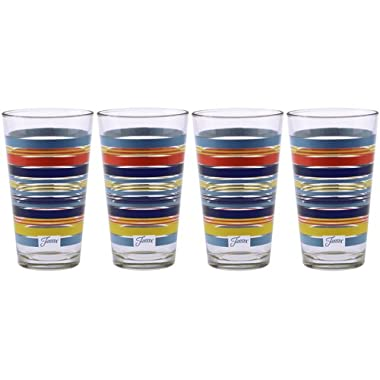 Fiesta Sunflower Collection Multi-Color Stripe Tapered Cooler, 16-Ounce, Set of 4