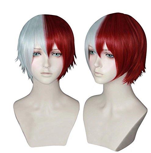Kadiya Heat Resistant Cosplay Wigs Short Red Silver Male Boy Anime Hair for $<!--$15.99-->