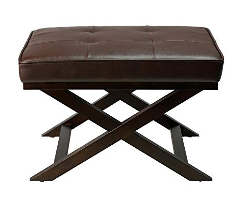 Cappuccino Legs Wood - Cortesi Home Ari Brown X Bench Ottoman in Bonded Leather with Dark Cappuccino Wood Legs