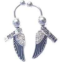 DEDEGUI A Pair Silver Bar Black Wings Best Friends 14g Belly Button Navel Ring Body Piercing Jewelry