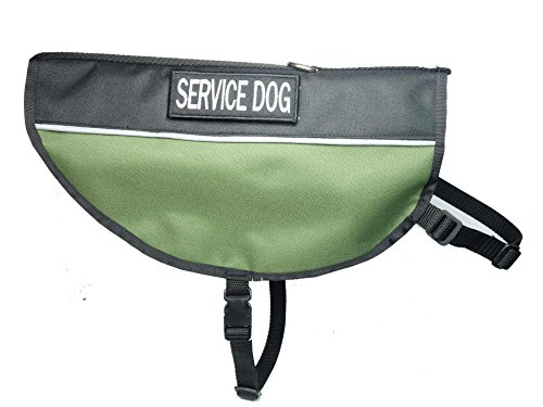 Leash Boss Service Dog Vest - Water Resistant Exterior with Reflective Strips and Removable Embroidered Patches - Tactical Green Cape Style (Medium, Olive (Embroidered Olive)
