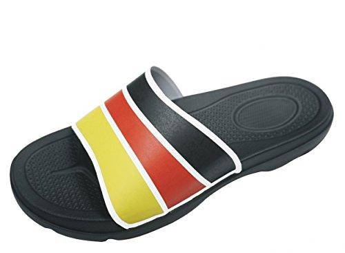 BOCKSTIEGEL® JOGI Zapatos de ducha (Unisex Flop Zapatos mulas Piscina 38-47) black/white/red/yellow