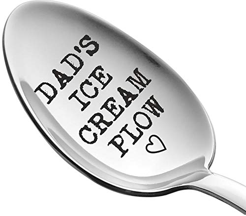 Weenca Engraved Spoon Dads Ice Cream Plow Gift for Dad Sturdy Stainless Steel Ice Cream Spoon Best Dad Gifts for Beloved Dads who Adore Ice Cream