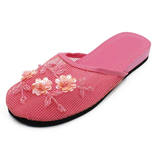 Cammie Women's Floral Beaded Mesh Fuchsia Pink Chinese Slippers 5 B(M) US