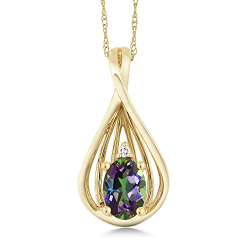 Gem Stone King 0.50 Ct Oval Green Mystic Topaz and Diamond 10K Yellow Gold Teardrop Pendant With Chain ()