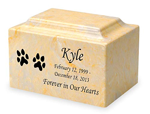 Gold Dog Paw Prints Pet Classic Cultured Marble 50 Cubic Inch Cremation Urn Vault - Engravable