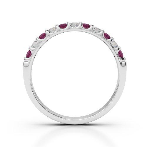 Or blanc 18carats 0,33CT G-H/VS Certifié Coupe ronde Rubis et diamants Agdr-1107