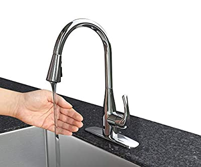 FLOW Faucet, Hands Free Motion Sensing Technology Kitchen Faucet, Dual Spray Head Offers 2 Styles of Water, Easy Installation No Hardwiring or Electricity, AA Batteries only