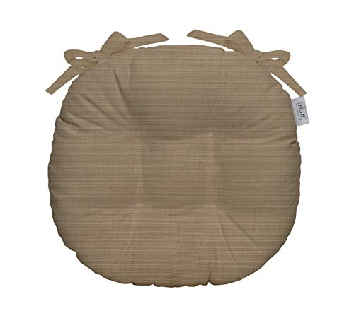 RSH Décor Indoor/Outdoor Round Tufted Bistro Chair Cushion with Ties - Made with Sunbrella Dupione Sand (16