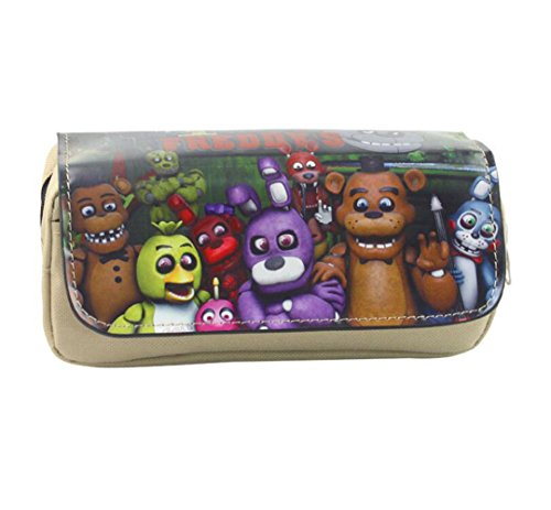 Lcrystal for Five Nights at Freddy's Stationary Case Bag, Eraser, Pen, Pencil, Marker, Ruler Organizer Holder - Khaki